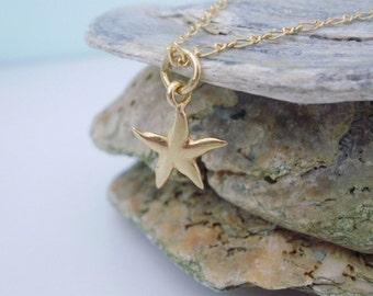 Gold Vermeil Starfish Charm Anklet,Figaro Ankle Chain,Seaside Charm Anklet, Gold Ankle Bracelet,gift for her, beach anklet, handmade