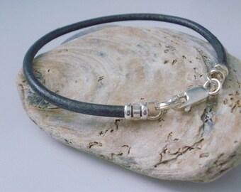 Grey Leather and Silver Bracelet, Mens Bracelet Leather, Mens Bracelet Silver, Sterling Silver, gift for women, boyfriend gift, handmade