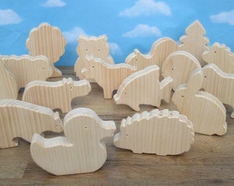 Wooden animal set for children - Wooden toys - Make your own animal set of 9 big wooden animals - Wooden animals to paint - Party favors