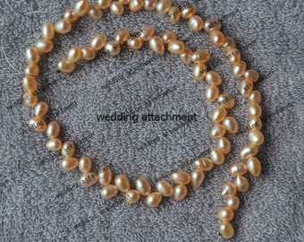 15 inch pale pink genuine pearl strand supply, 5-6 mm AA real cultured wheat shape pearl strand wholesale, freshwater pearl jewelry material