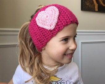 Girls Crochet Earwarmer - Sweetheart Crochet Earwarmer - Handmade earwarmer