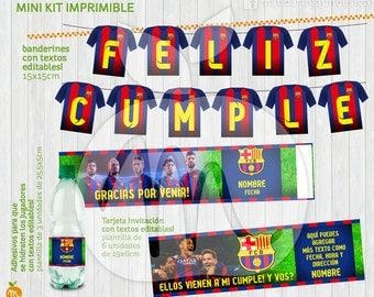 Printable Kit with Editable Texts Barcelona Soccer