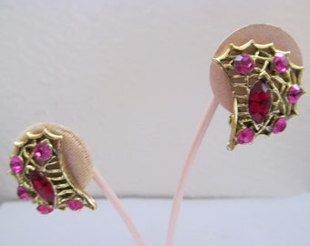 Deep Pink/Red Rhinestone Earrings - Clip On