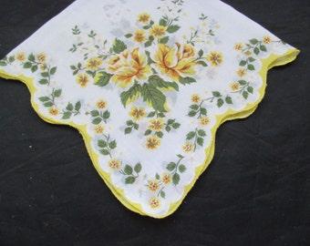 Vintage Handkerchief - Yellow Roses
