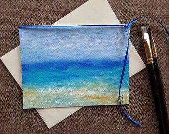 Beach art Beach card Original oil painting on canvas Ocean card Art Card for him Any occasion card Ocean Beach Seascape art Birthday card