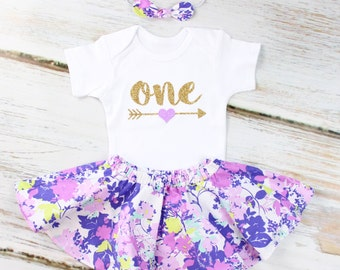 1st Birthday Outfit with Purple Flower Twirl Skirt | Gold One With Purple Heart Arrow