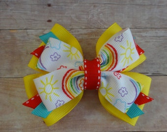 Yellow with Kid-Printed Rainbows Stacked Pinwheel Hair Bow