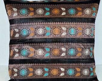 Brocade silk pillow cover in Black/copper 50 X 50cm