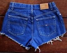90s Tommy Hilfiger Shorts 28 Waist High Waisted Denim Cutoffs Upcycled Mom Shorts Dark Wash