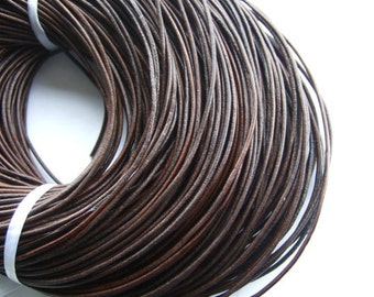 2mm leather cord antiqued brown round Genuine cow leather cord P244