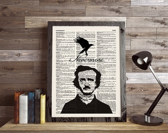 Edgar Allan Poe, The Raven, Nevermore, Dictionary Print, Wall Art Print, Book Page Print, Poe Print, Typography Print, Book Quote Print, 024