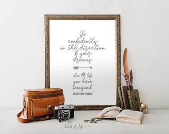 Printable art Henry David Thoreau art print Black and white Arrow print Go confidently in the direction of your dreams HEART OF LIFE Design