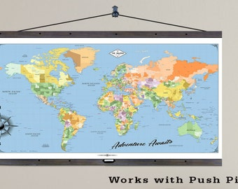 World Travel Map with Pushpins. The Largest Travel Maps. 36x60 Hanging Map printed on Canvas. Push Pin Map. 2016 Geography. Map 605