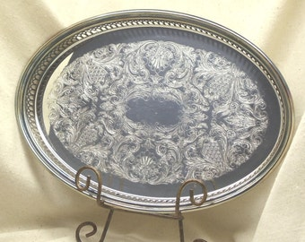 Vintage THE SHEFFIELD CO. Silver Plated Serving Tray, Vintage Houseware,Silver Holloware,#VH3020