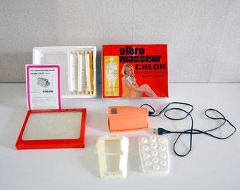 Vintage CALOR electric vibrator / French Vibro Massager / orange 70s