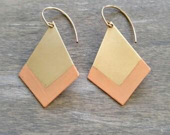 Chevron pattern earrings, simple gold drop earrings, peach coral earrings, brass dangle earrings, geometric earrings, modern earrings, chic