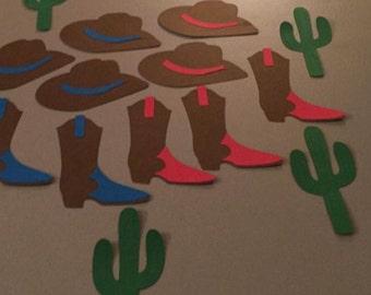 3 pcs Western Centerpieces (1 boot, 1 hat, 1 cactus), Cowboy Theme Birthday, Cowboy Theme Decor, Cowboy Birthday, Cowboy Party