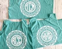 Aztec Monogram Comfort Color Tank, Summer Tank, Personalized Shirt, Spring Tank, Spring Break Shirt, Monogram Top