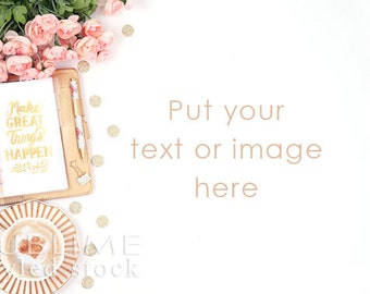 Styled Stock Photography / Planner / Stylish desktop / Website Photos / Pink and Gold / Blog Stock / Social Media / StockStyle-757