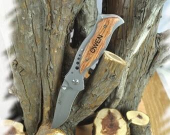 Pocket Knife (1 Knives) Personalized Engraved Tactical Knife , Groomsmen Gift , Wood Handle Pocket Knife Gift , Rescue Knife, Hunting Knives