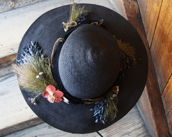 Vintage Antique 1910's-1920's Downton Era Black Straw Wide Brim Hat with Flowers