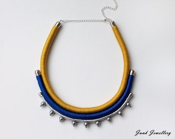 Statement necklace / rope necklace / bib necklace / color block / azure blue / amber / silver / beads / gift for her / handmade