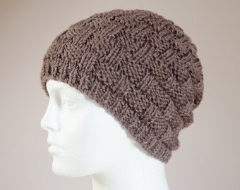 Fathers Day Hat - Mens Gift Hat - Brown Beanie Hat - Rustic Mens Hand Knit Hats for Men - Brown Knitted Hat - Student / Husband / Boyfriend