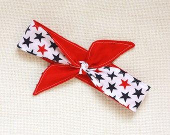 July 4th Stars Knotted Headband- 4th of July- Stars Red, White and Blue Headband
