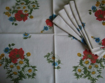 French napkins, linen white vintage, Lot of 6 parts