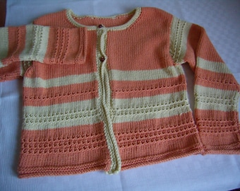 jacket girl, yellow and orange, sleeves long, cotton/acrylic, 5/6 years, knitted hand, Vintage