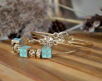 Stacked bangle 18k gold over vermeil, Popular stacked bangle set with beads.layered tacked bangles.