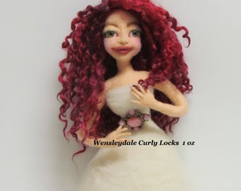 Doll hair, Wensleydale curly locks, Hand dyed/painted curly locks, listed for 1 oz.