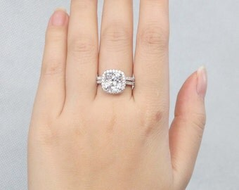 3 Ct Halo Cushion Cut Engagement Ring Wedding Set Man Made Diamond Stimulant