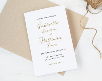Wedding Programs Template,Printable Folded Programs, Editable Artwork and Text Colour, Edit in Word or Pages