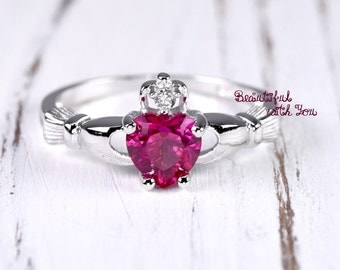 Friendship Ring Claddagh Irish Ring Sterling Silver Claddagh Band Womens Promise Ring Ruby CZ July Birthstone Heart Celtic Engagement Ring