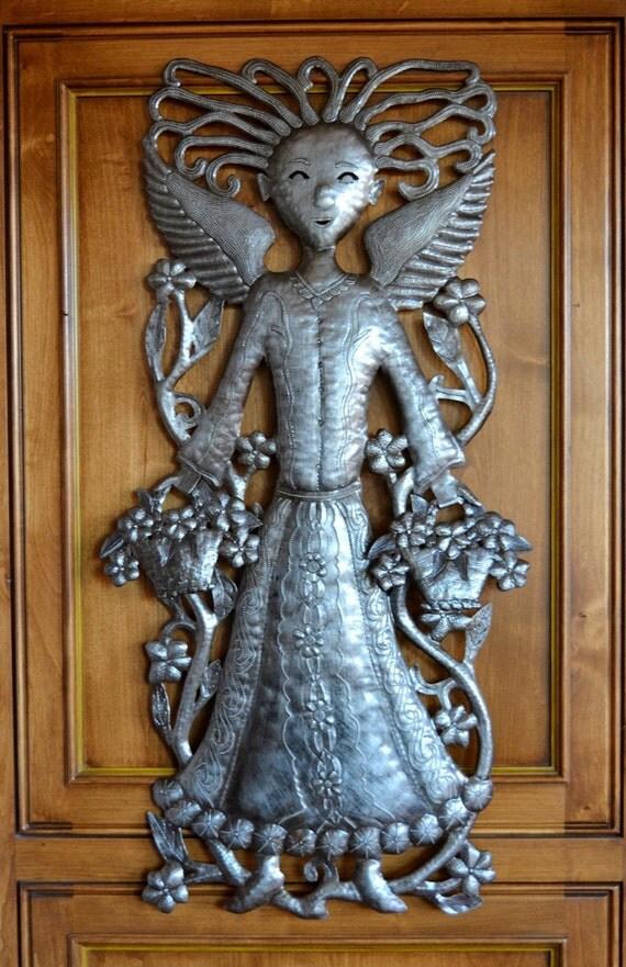 """Garden Angel,Baskets of Flowers, Fair Trade, Recycled Metal Wall Art, Steel wall Sculpture, 17"""" x 34"""""""