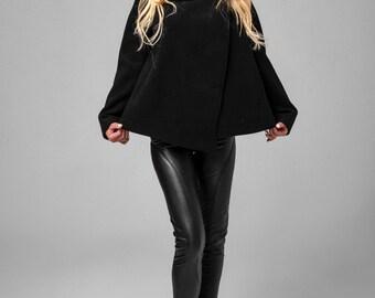 Asymmetrical wool blend coat / Warm winter coat / Black Coat / Short coat / Wool blend coat / Women coat