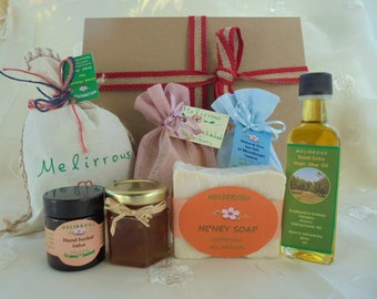 Gift basket Greek Products, All Natural Organic Products, Gift Set of Honey, Handmade Salve, Olive & Honey Soap, Sea Salt,Mountain Tea,Nuts!