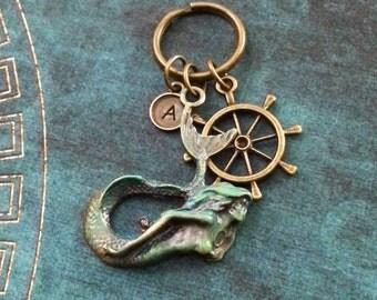 Mermaid Keychain Patina Mermaid Keyring Boat Helm Ship Wheel Keychain Bronze Siren Keychain Grecian Fantasy Keychain Blue Patina Keychain