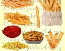 Fries Clipart Digital Fries Clip Art French Fries Single Fry Ketchup Crinkle Fries Potato Chips in Bag Fast Food Meal Snack Images Graphics