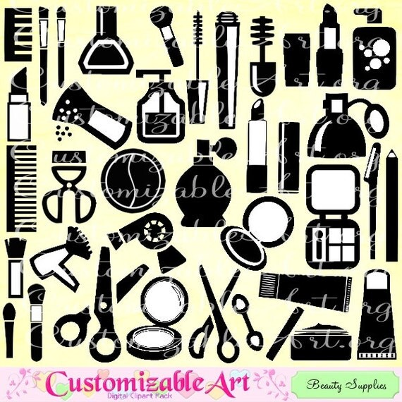 Beauty Supplies Clipart Costmetics Makeup Clip Art Spa Fashion Accessories Silhouette Image Graphic From