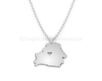 Belarus Necklace - Belarus charm necklace, Belarus map necklace, I love Belarus