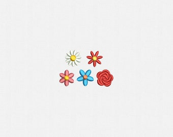 """0,5"""" and 0,75"""" Mini Flowers Machine Embroidery Design - 5 Designs by 2 Sizes"""
