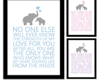 Nursery Elephant Framed A4 Quote Print - No one else will ever know my love for you, what my heart sounds like from the inside - New Baby