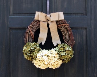 Front Door Wreath, Summer Wreath for Door, Hydrangea Wreath, Year Round Wreath, Spring Wreath, Fall Wreath, Grapevine Wreath, Rustic Wreath