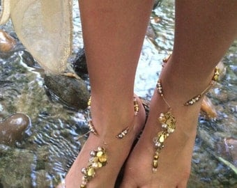 Gift For Women, Barefoot Sandals, Foot Jewelry, Wedding Sandal,  Bridesmaids Gift, Champagne And Cream Beads With Crystals