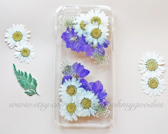 iPhone 6 Case, iPhone 6s Case, iPhone 5s Case, Samsung Galaxy S7 Case, S6 Case, iPhone 6 Plus Case, 6s Plus Case, Clear Pressed Flower Case