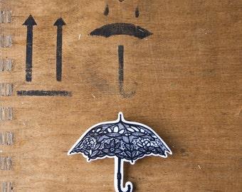 Umbrella Brooch,Lace Vintage Umbrella,Mary Poppins Umbrella,Vintage Umbrella Parasol,For Bridal Bridesmaid,Wedding,lapel pin,original gift