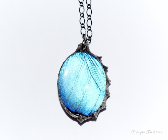 Blue Butterfly Jewelry: Real Butterfly Necklace Blue Metallic Morpho By