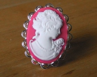 Dark Pink Cameo Ring